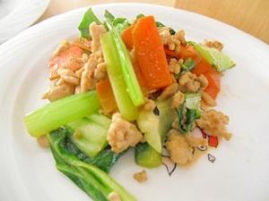 鶏ひき肉in野菜炒め