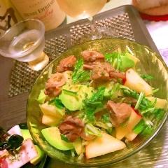 牡蠣のオイル漬と林檎とアボカドのゆずぽんサラダ
