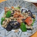 肉味噌利用 ナス、トマト、ピーマン炒め