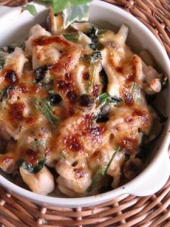 鶏肉とほうれん草のマヨ味噌焼き。