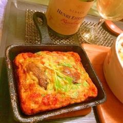牡蠣のオイル漬と彩り野菜のジャパニーズ酒粕オムレツ