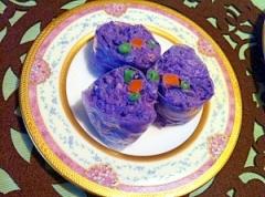 紫じゃがいものもったりマッシュ生春巻き