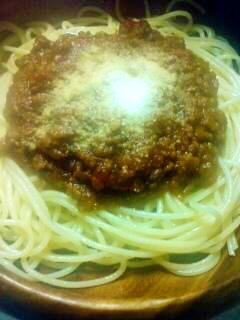 バーベキューソースが隠し味のミートソーススパゲティ