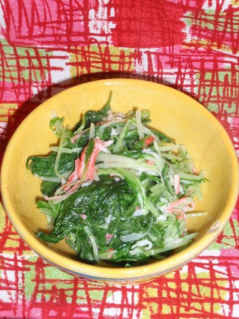 水菜とカニかまの塩麹炒め