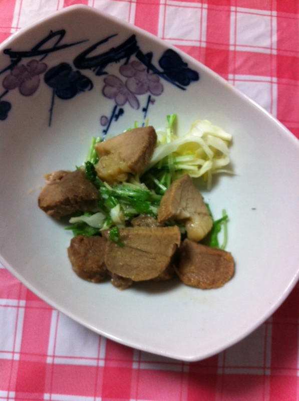 ガッツリ豚かたまり肉&キャベツ&水菜の炒め物