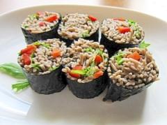 簡単 ヘルシー 夜食にお勧め 蕎麦海苔巻き
