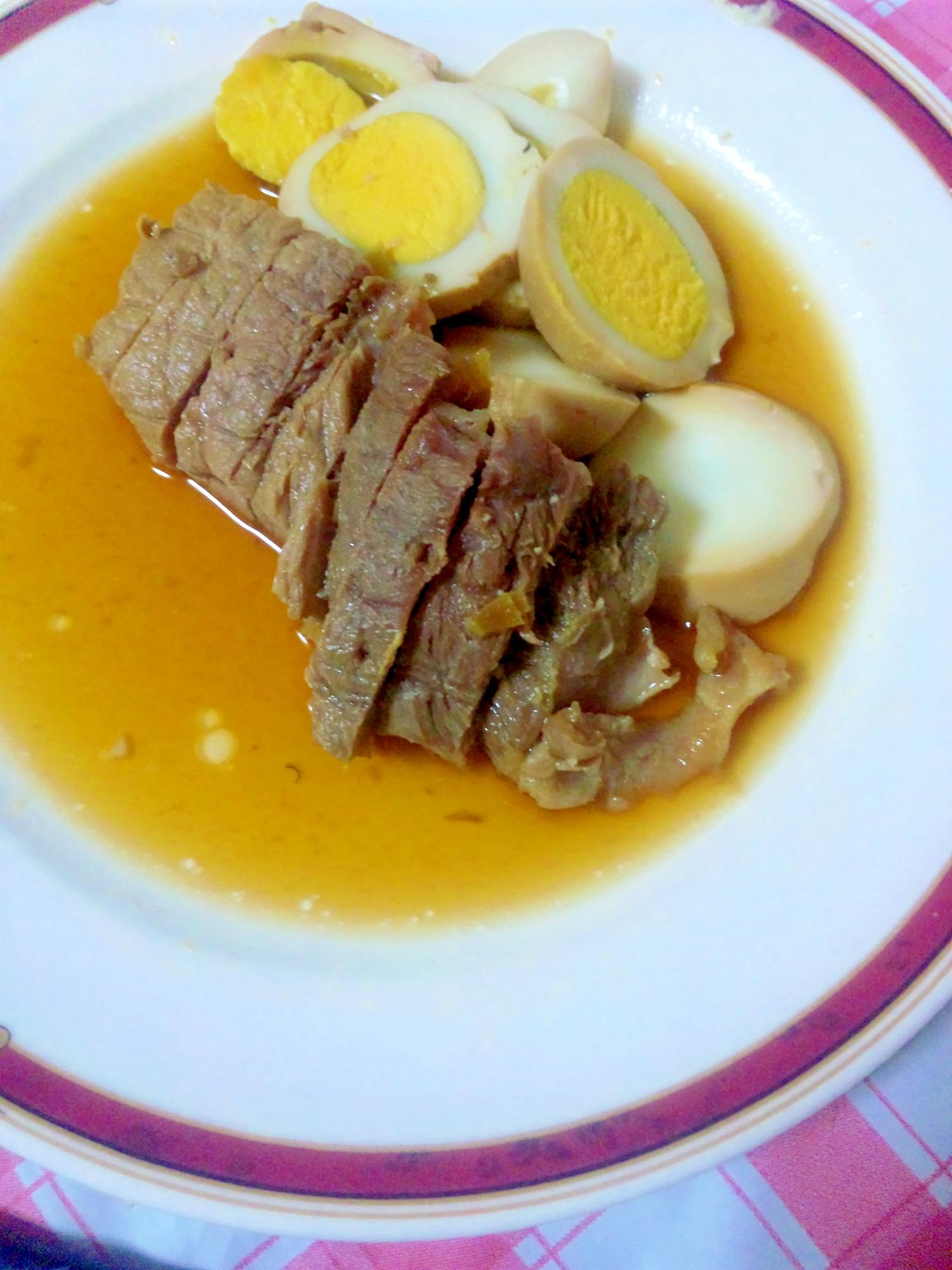 みんなで食べよう♪豚かたまり肉&卵の黒酢煮
