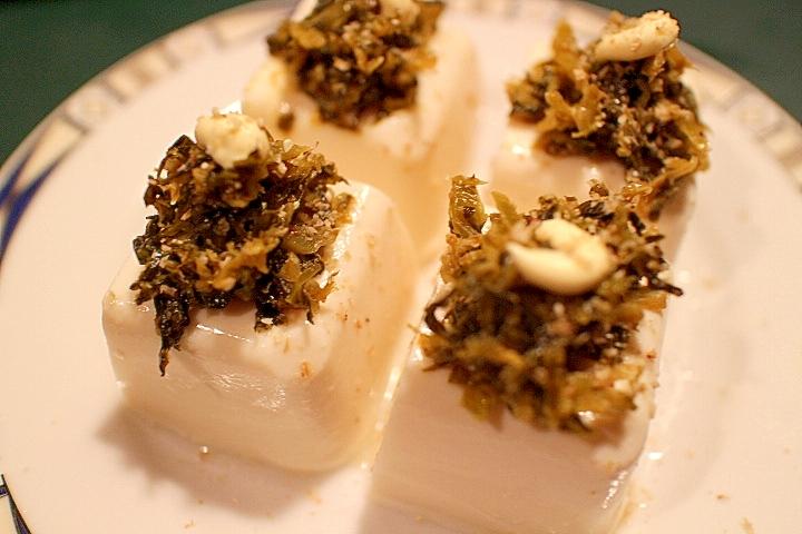 【超簡単 副菜 おつまみ】豆腐の明太子高菜のせ