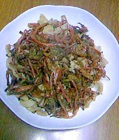 つくしと豚肉のシンプルな炒め物
