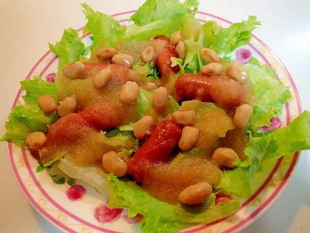 レタスとウインナーと大豆のサラダ 玉ねぎドレ