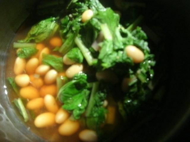 大豆と冬菜の煮びたし