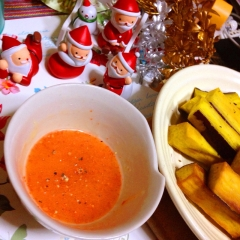 素揚サツマイモにおつまみかん蜂蜜マヨ黒胡椒ディップ