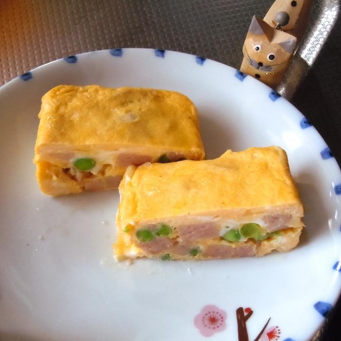 卵1個でふんわり玉子焼き~スパム入り~