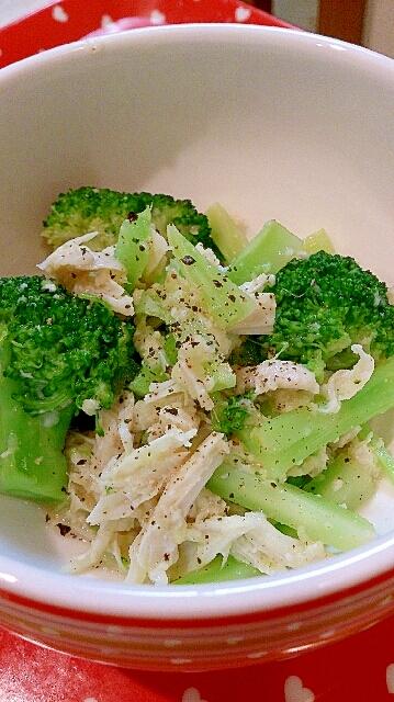 簡単副菜!鶏肉ささみとブロッコリーの生姜塩麹和え
