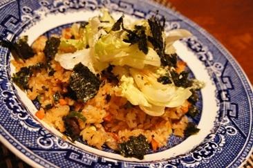 後のせしゃきしゃき、焼き海苔レタス炒飯