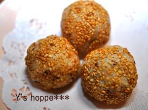 白玉粉で作るゴマ団子