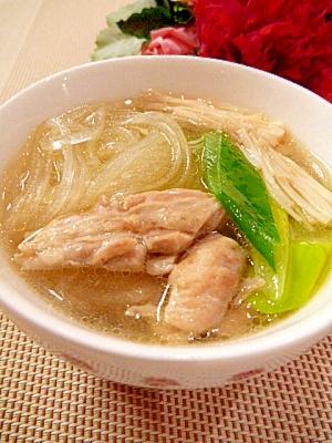塩麹で濃厚!「せせりの☆中華春雨スープ」 レシピ・作り方 by まめもにお|楽天レシピ