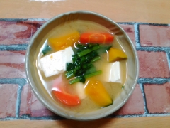 かぼちゃがほっこり ★豆腐と緑黄色野菜のお味噌汁★