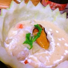 燻製牡蠣de冬瓜と里芋の葛クリーム煮込