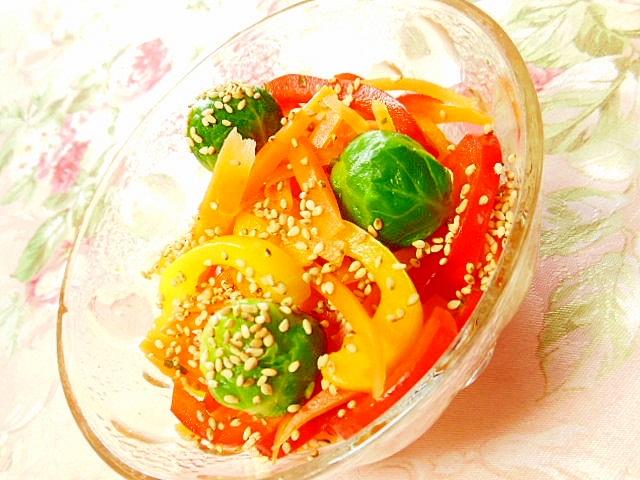 パプリカ・人参・芽キャベツの甘ずっぱサラダ