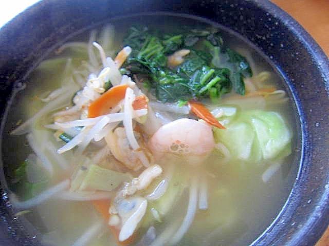 スチーム海老浅蜊野菜塩ラー麺