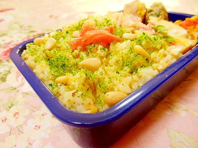 香りよく味噌卵と生姜と松の実の混ぜご飯