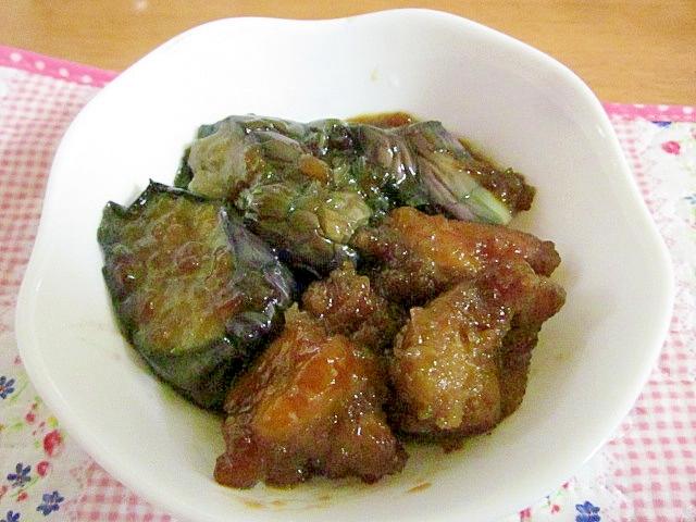 鶏肉のから揚げとナスのこってり煮