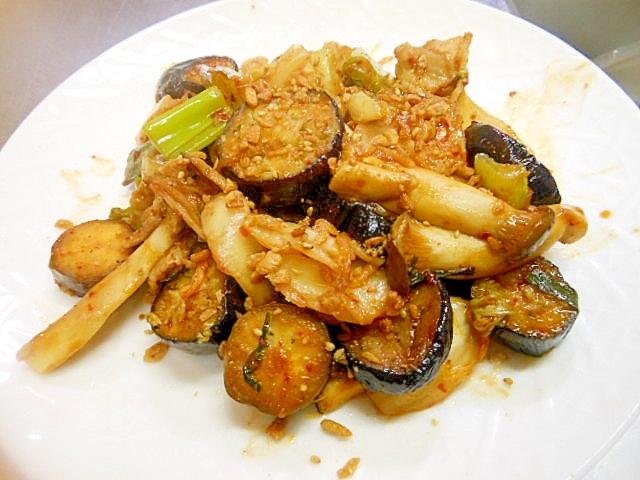 ねぎ、エリンギ、茄子の豚キムチ炒め