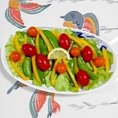 レタスとスナップえんどう、パプリカのサラダ