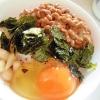 納豆と海苔とラッキョウの甘酢漬けで 卵かけご飯
