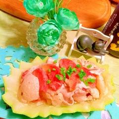 ソルダムと冬瓜の豚しゃぶ胡麻マヨ和え
