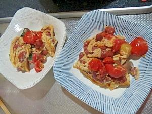 トマトとキドニービーンズの玉子焼き