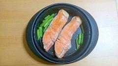 レンジで簡単!!鮭とインゲン焼き