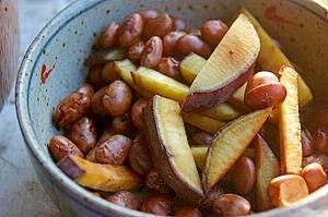 金時豆と金時芋の兄弟炒め
