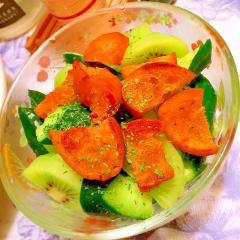 胡瓜とキウイのおつまみパンサラダ