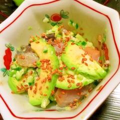 アボカドと燻製さわらの簡単おつまみサラダ