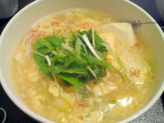疲れた胃に♪ふわふわ卵あんの温麺(にゅうめん)