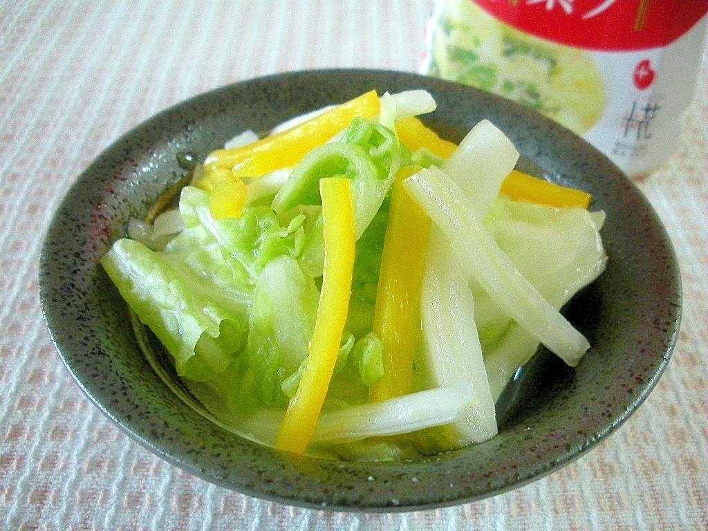 鶏がら塩糀スープで!白菜と黄ピーマンの浅漬け風♪
