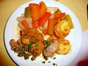 ラム肉とマシュルームのマスタード焼き