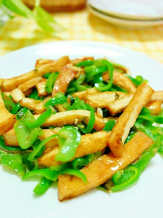 青椒肉絲風★厚揚げとピーマンの炒め物