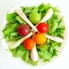 エシャレットと水菜とカラフルトマトのサラダ