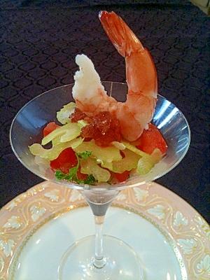 ざくろジュレのシュリンプサラダ/ホンチョ:ザクロ酢