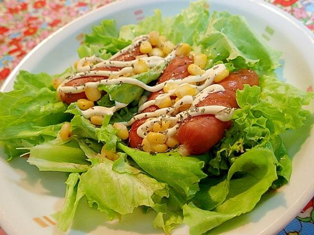 リーフレタスポークソーセージコーンのサラダ