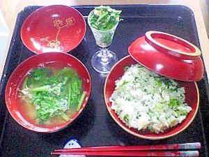 カブの葉づくし♪炒め物&混ぜご飯&味噌汁