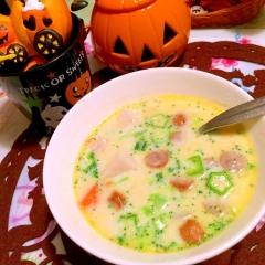 里芋とブロッコリー&オクラの豆乳スープ