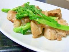 菜の花と鶏肉のごま油炒め