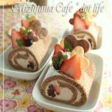●生チョコとイチゴのココア スフレ ロールケーキ●