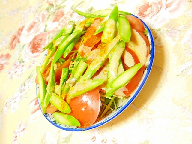 豆苗とトマト&アスパラの胡麻ドレ・カレーサラダ