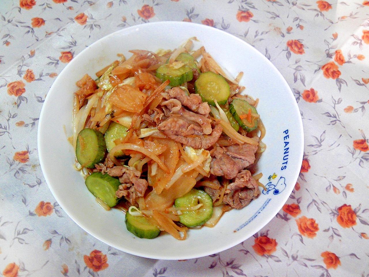 豚肉と漬物とガリの炒め物