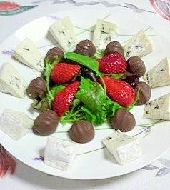 ブルーチーズとマカダミアチョコのミニオードブル
